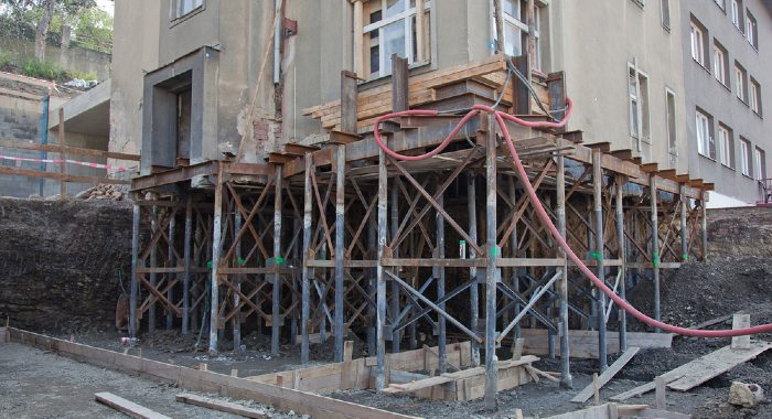 Underpinning is the renovation or construction to strengthen a building's current foundation to make it safe.